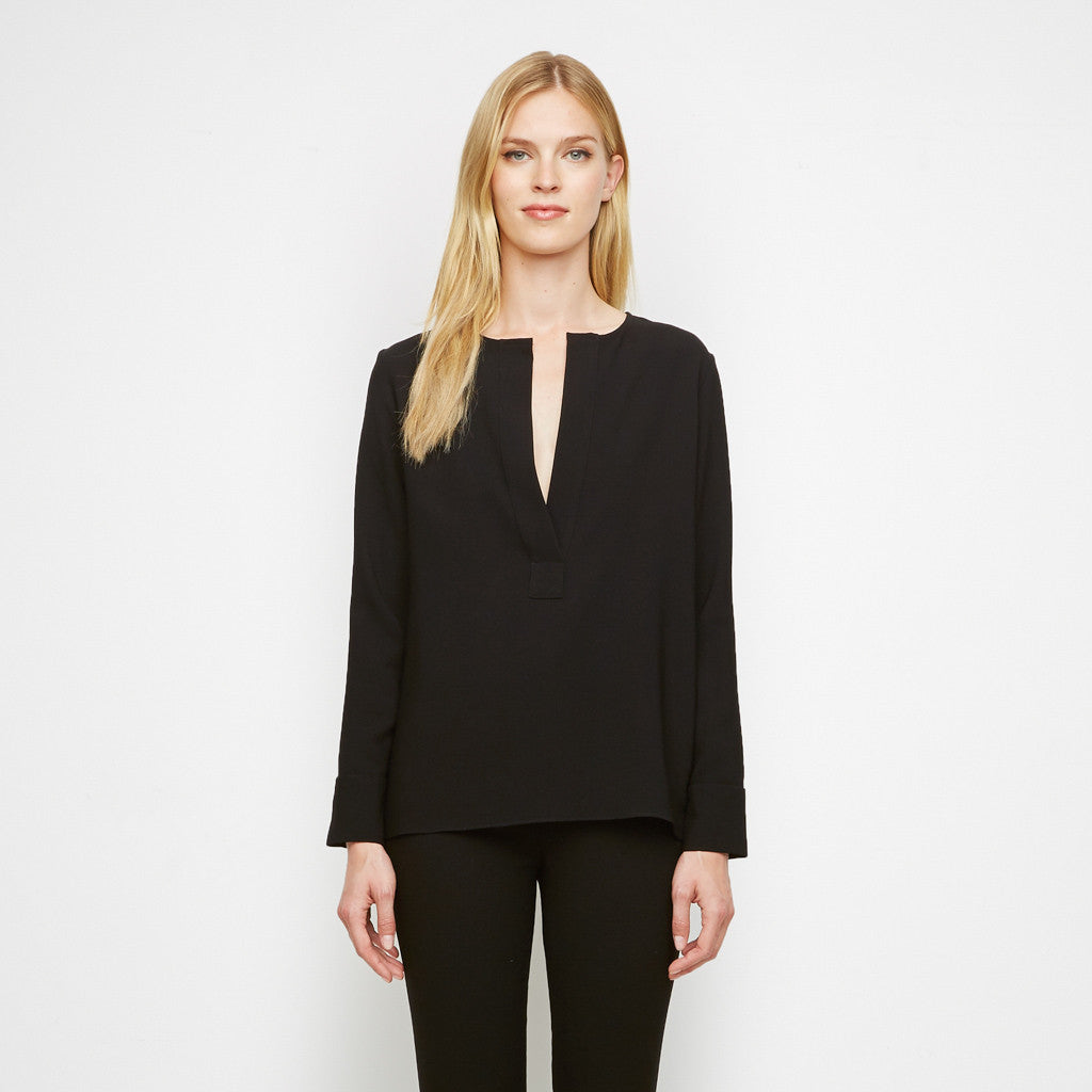 Crepe Long Sleeve Placket Shirt - Black - Final Sale