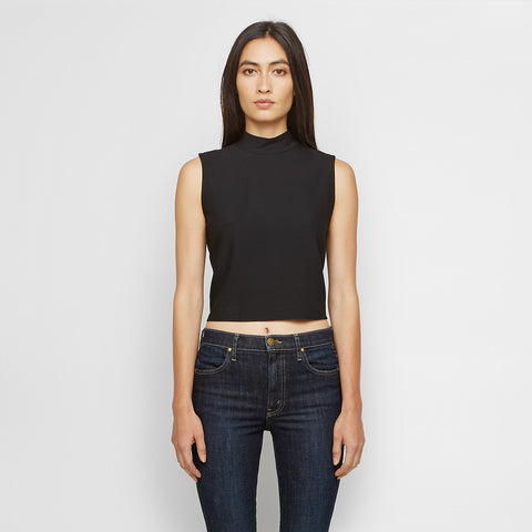 Crepe Mockneck Tie Back Shell - Black - Final Sale