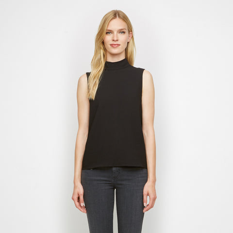 Crepe Sleeveless Mockneck Shell - Black - Final Sale