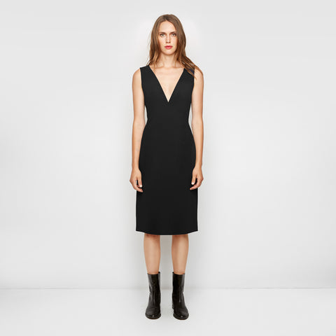 Crepe Tie Back Dress - Black