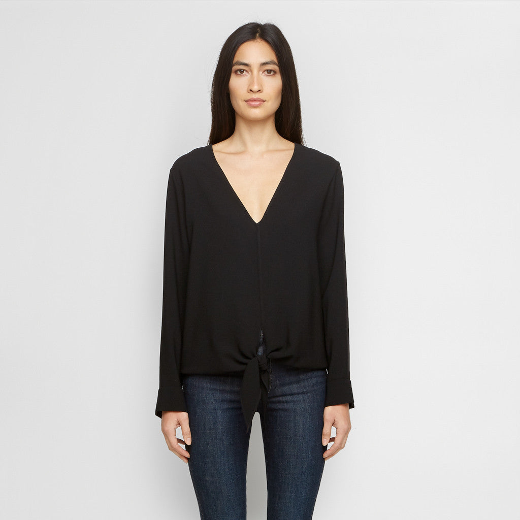 Crepe Tie Front Top - Black