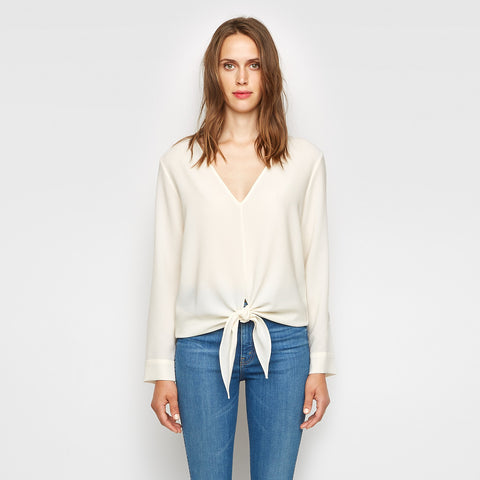 Crepe Tie Front Top - Ivory - Final Sale