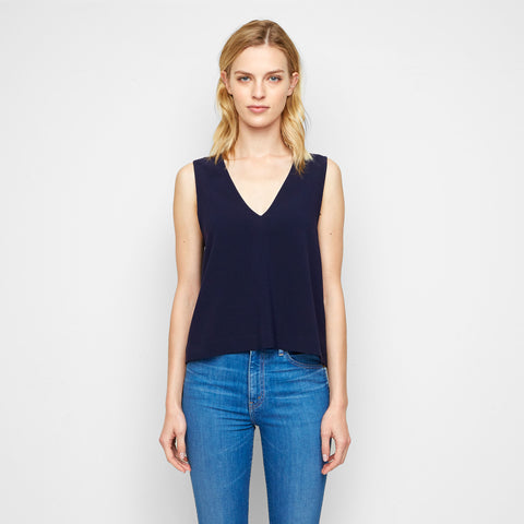 Crepe V Neck Shell - Navy