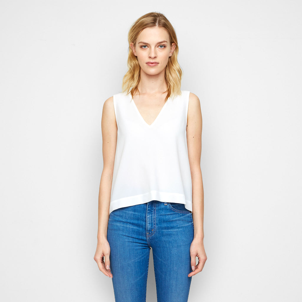 Crepe V Neck Shell Tank - White