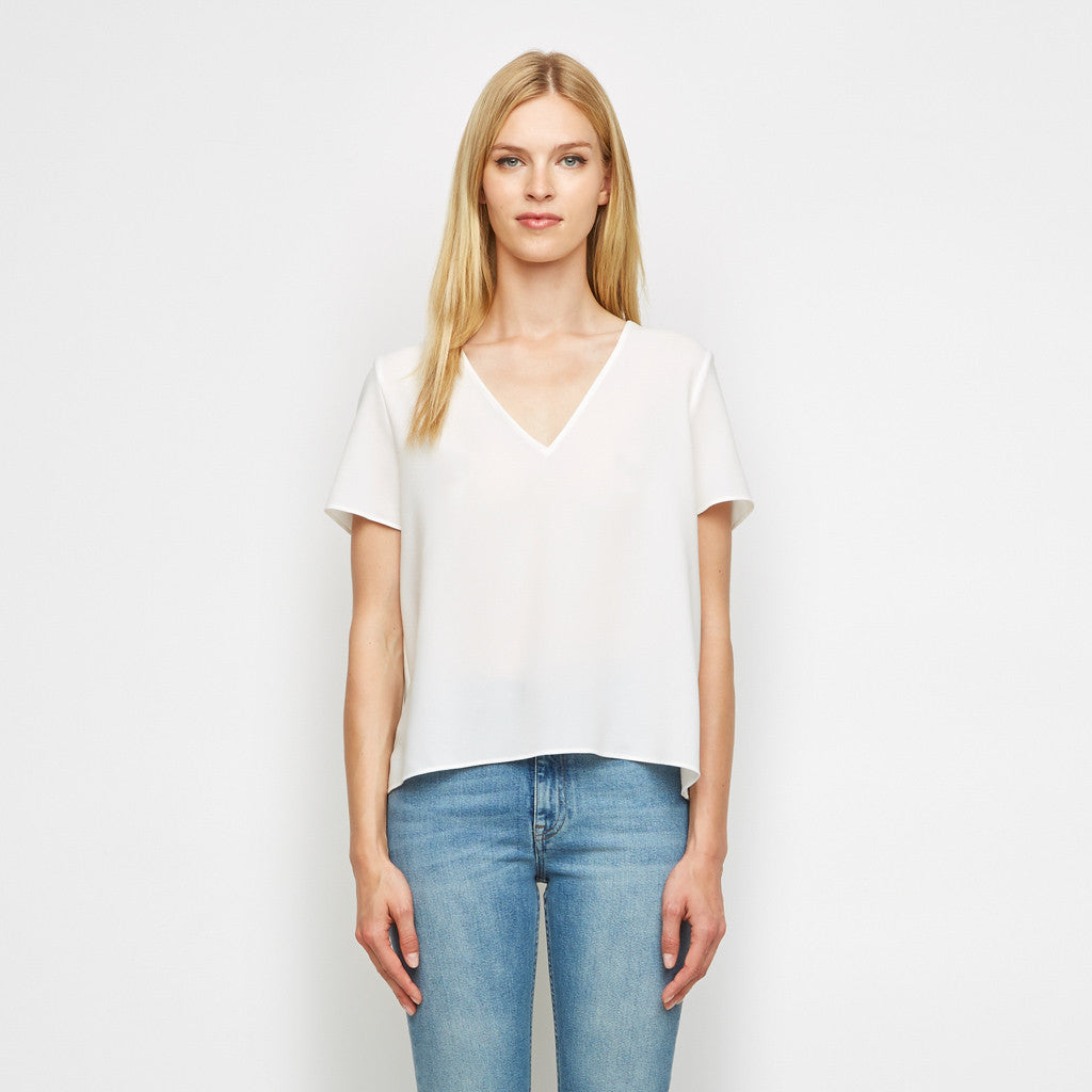 Crepe V Neck Tee - White