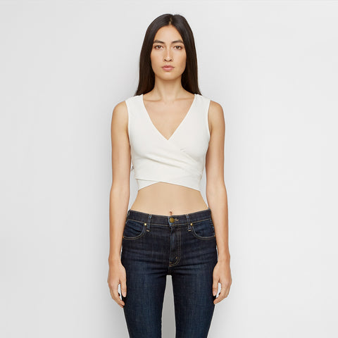 Crepe Wrap Tie Top - Ivory - Final Sale