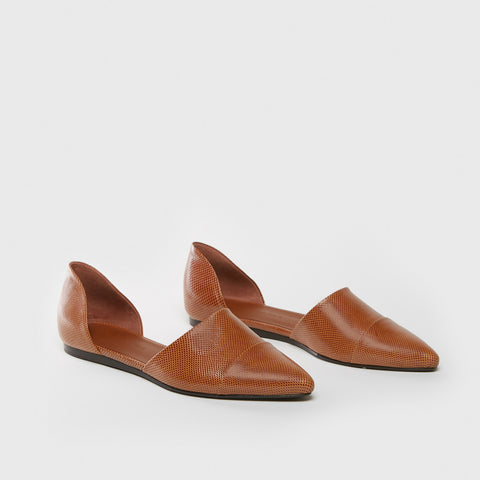 D'Orsay Flat - Caramel Lizard-Embossed Leather