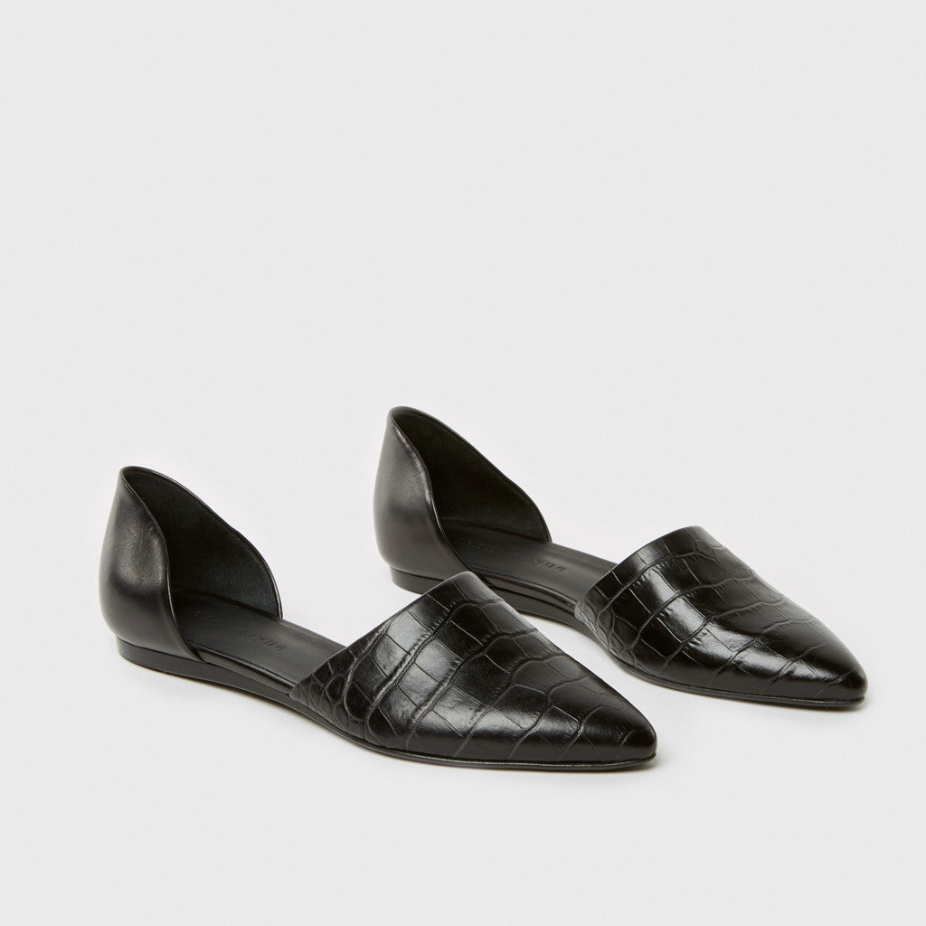 D'Orsay Flat - Black Croc-Embossed Leather