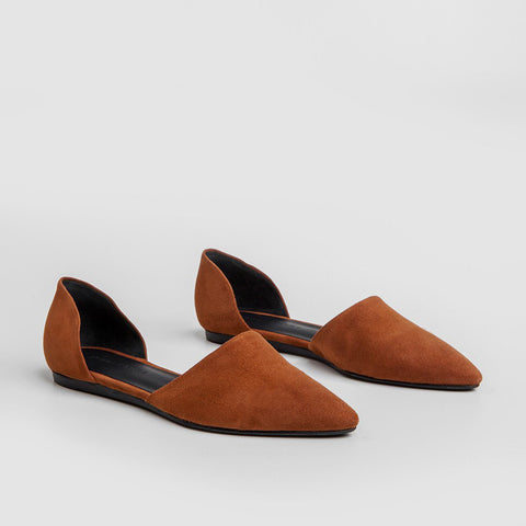 Suede D'Orsay Flat - Saddle