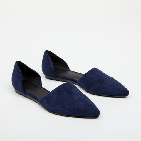 D'Orsay Flat - Navy Suede