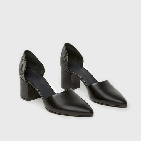 D'Orsay Mid Heel - Black Croc-Embossed Leather