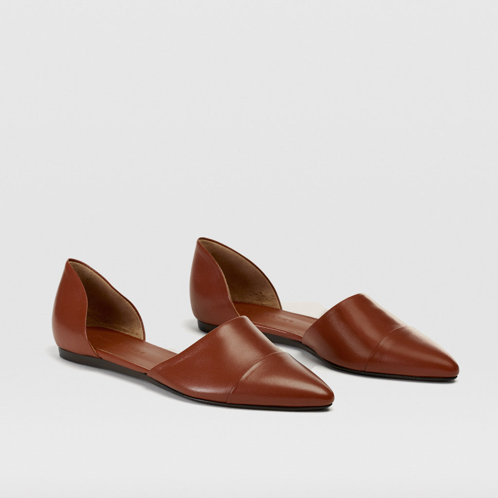 D'Orsay Flat - Saddle Leather