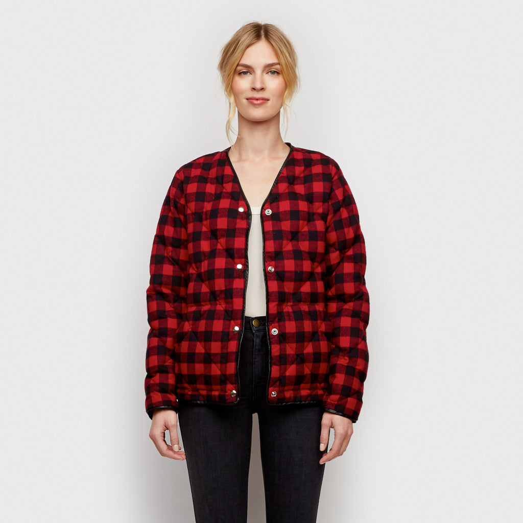 Flannel Down Jacket - Red/Black