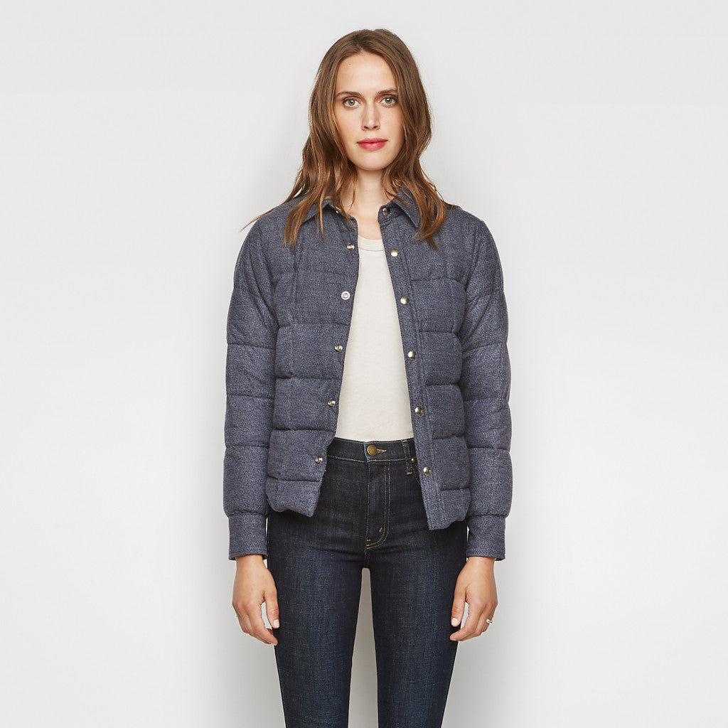 Jenni Kayne x Crescent Down Works Flannel Quilted Jacket - Navy