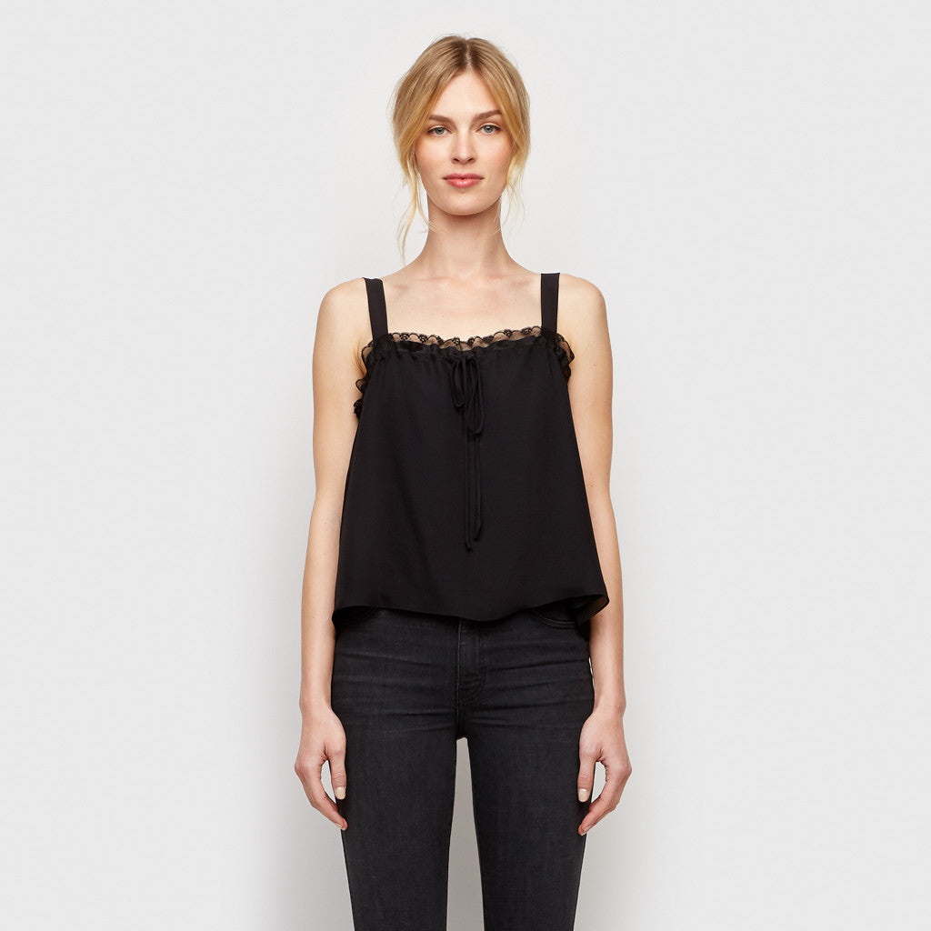 Silk Gathered Lace Cami - Black