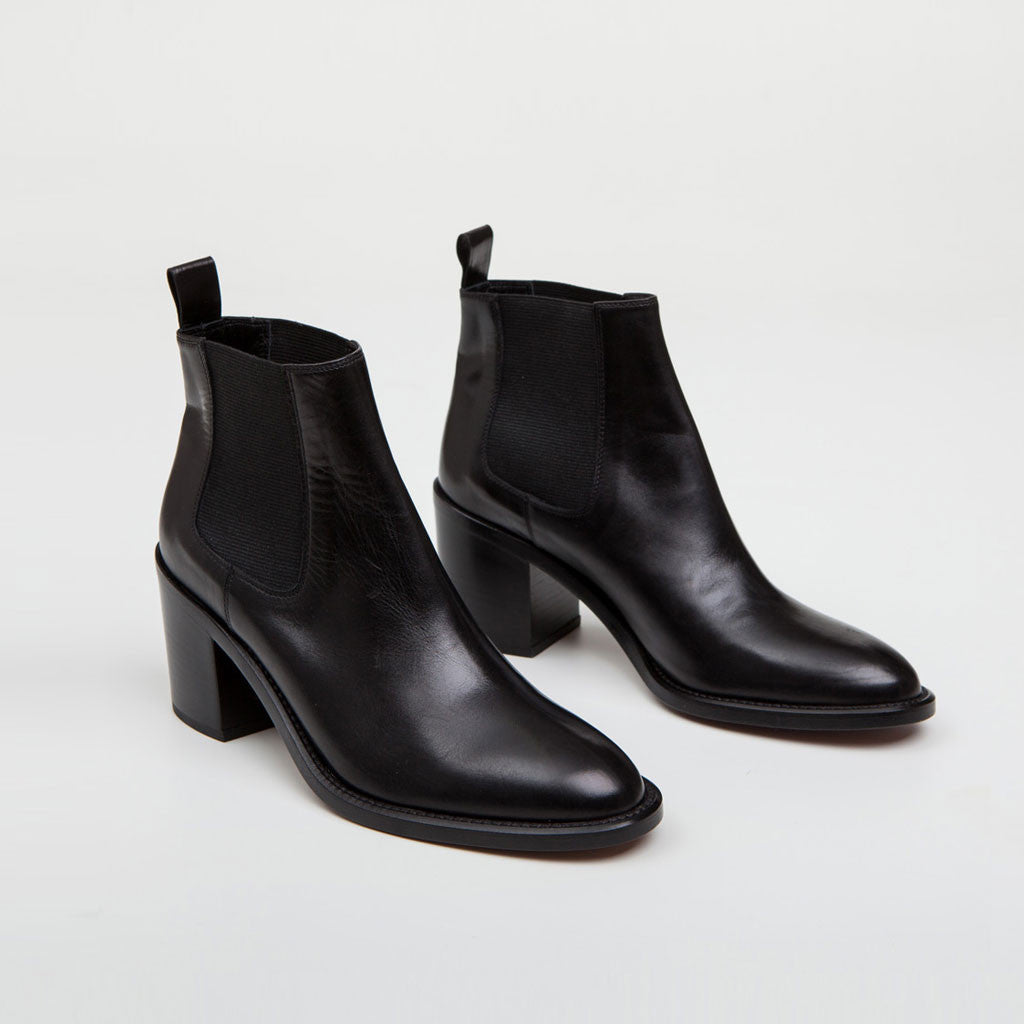 Heeled Chelsea Boot - Black Leather