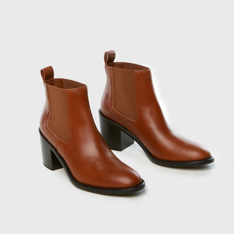 Heeled Chelsea Boot - Saddle Leather