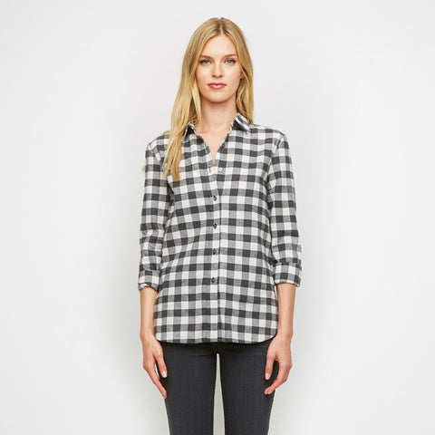 Houndstooth Plaid Boyfriend Shirt - Charcoal/White - Final Sale
