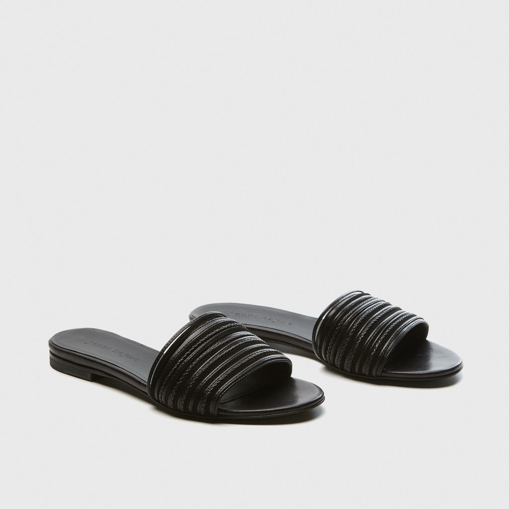Knotted Slide Sandal - Black Leather