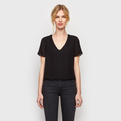Silk Lace V-Neck Tee - Black