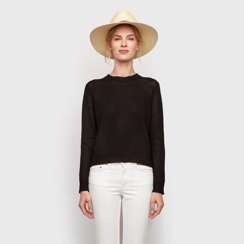 Linen Cropped Sweater - Black