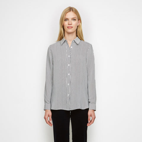 Silk Baby Stripe Boyfriend Shirt - Navy/White - Final Sale
