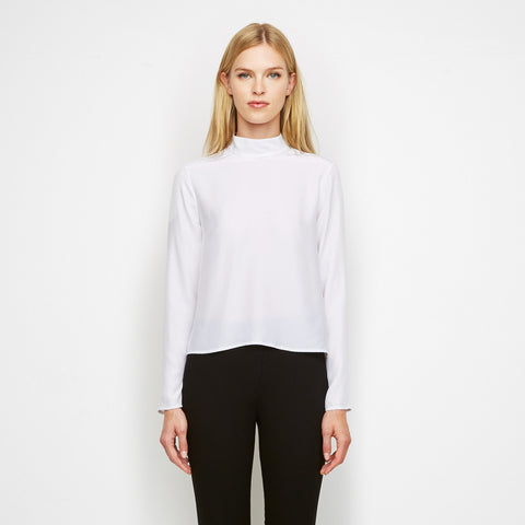 Matte Charmeuse Mockneck Shirt - White - Final Sale