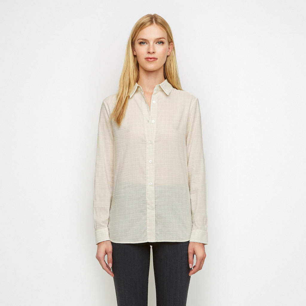Matte Charmeuse Boyfriend Shirt - Ivory/Grey - Final Sale