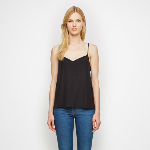 Matte Charmeuse V Neck Cami - Black - Final Sale