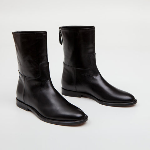Mid Equestrian Boot - Black Leather