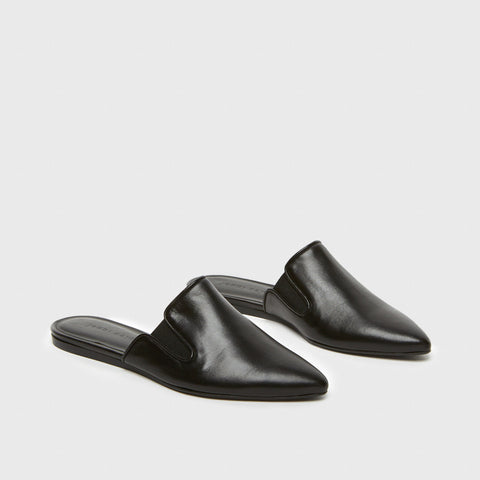 Mule Slide - Black Leather