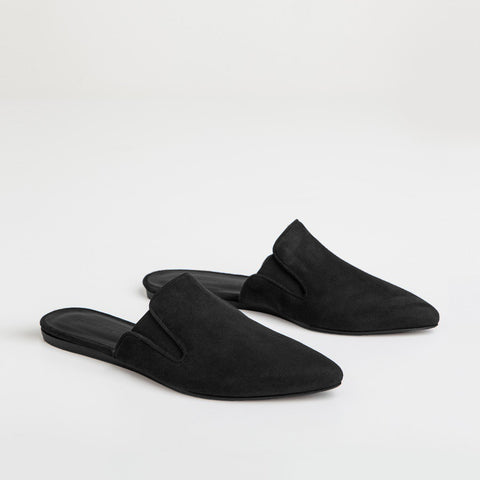 Mule Slide - Black Suede