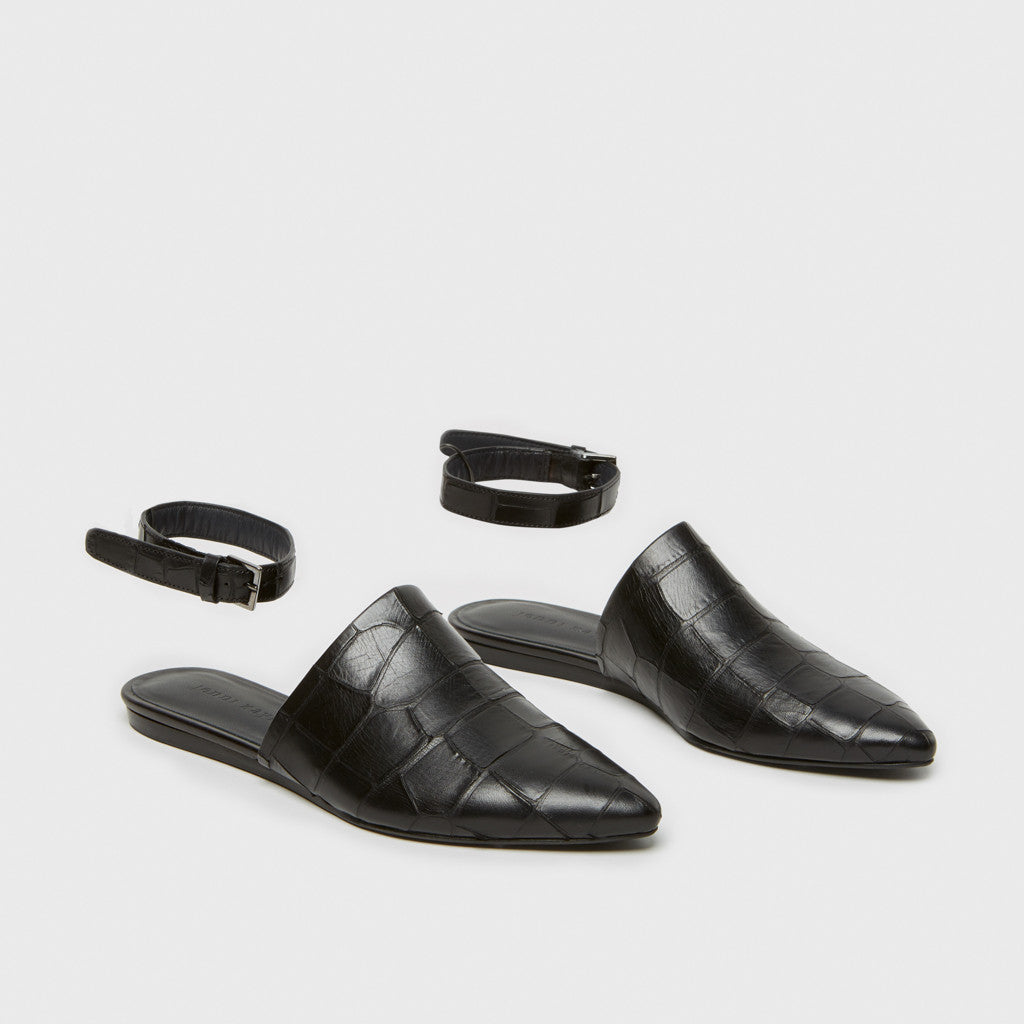 Mule Slide w/ Ankle Strap - Black Croc-Embossed Leather