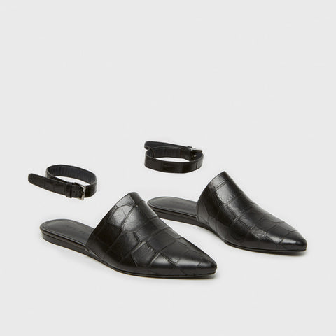 Mule Slide w/ Ankle Strap - Black Croc-Embossed Leather - Final Sale