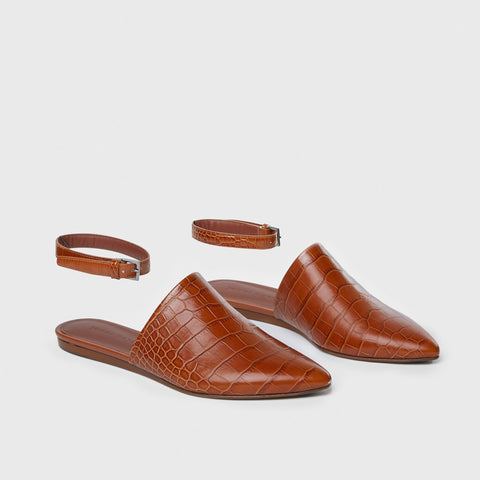 Mule Slide w/ Ankle Strap - Saddle Croc-Embossed Leather