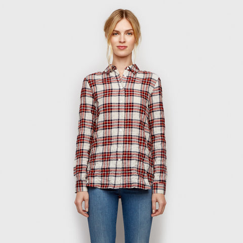 Plaid Boyfriend Shirt - Blue/Red/Ivory