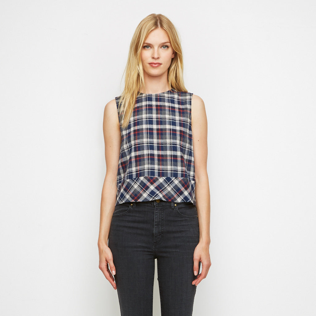 Plaid Flannel Bias Banded Shell - Navy/White/Red - Final Sale