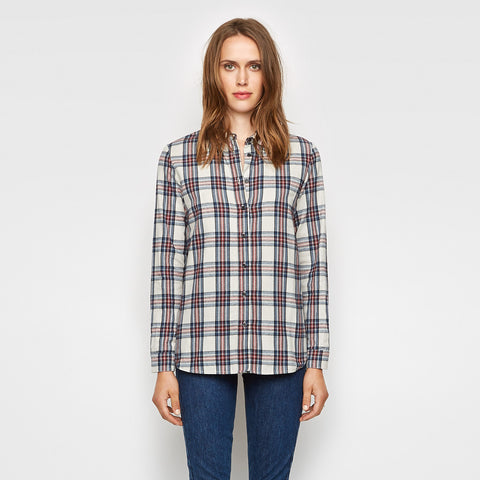 Plaid Flannel Boyfriend Shirt - Ivory/Red/Navy - Final Sale