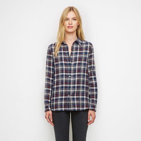 Plaid Flannel Placket Back Boyfriend Shirt - Navy/White/Red - Final Sale