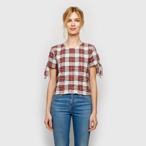 Plaid Tie Shirt - Blue/Red/Ivory