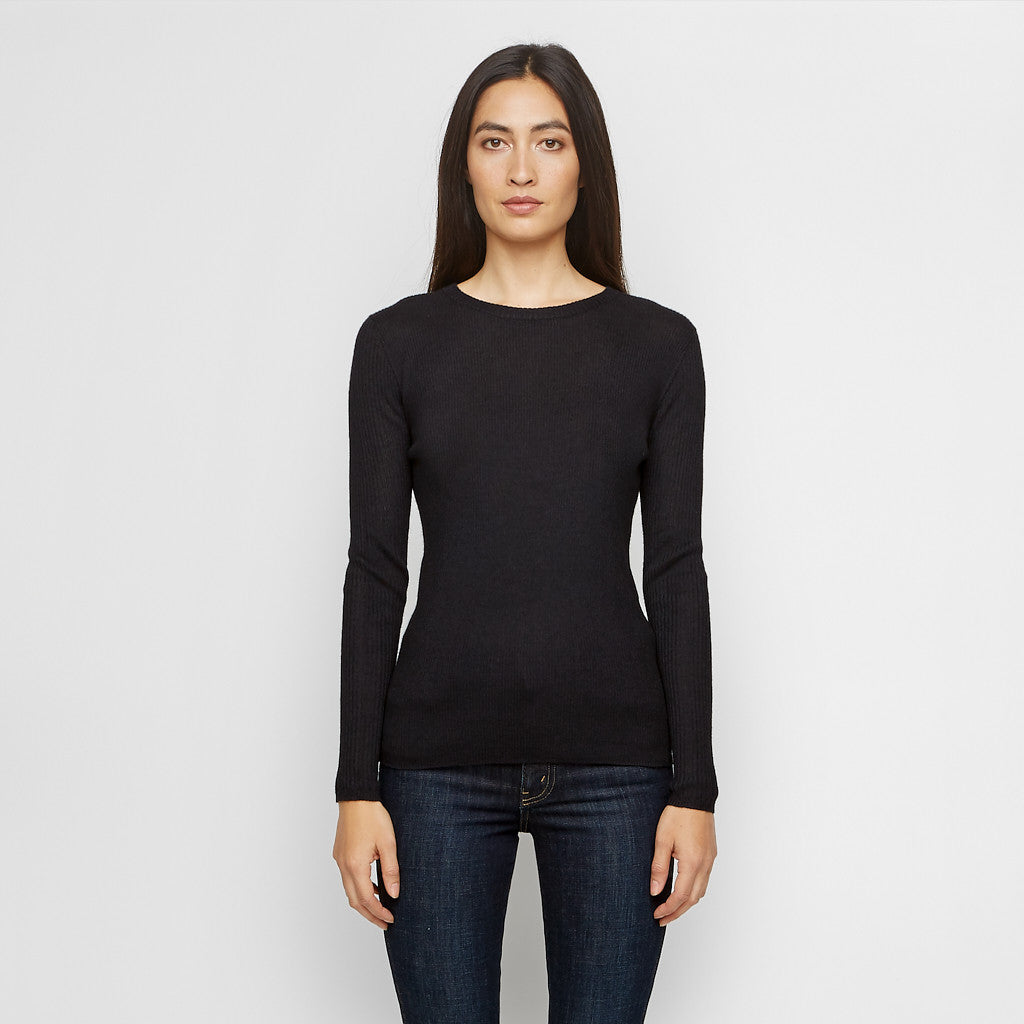 Cashmere Ribbed Long Sleeve Tee - Black