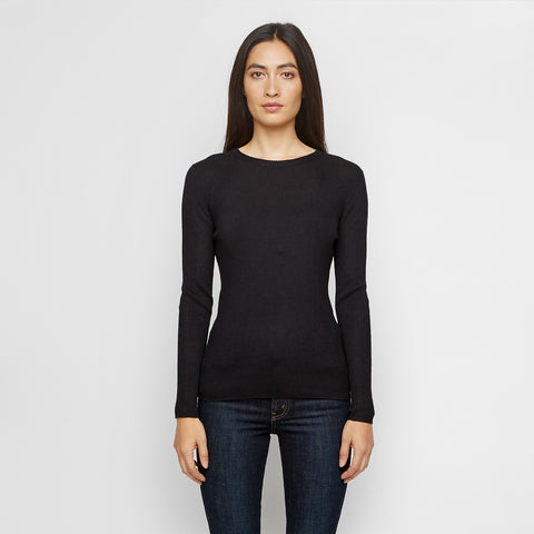 Cashmere Ribbed Long Sleeve Tee - Black - Final Sale