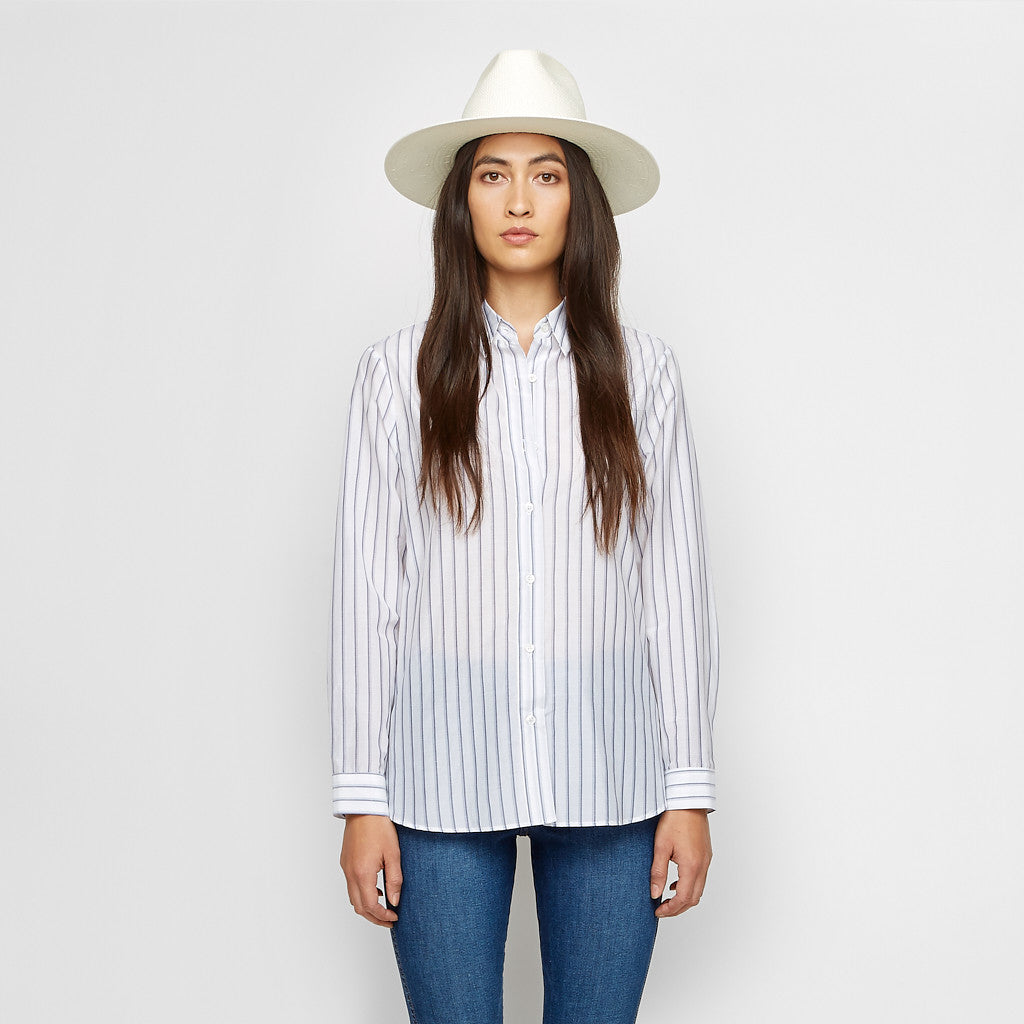Silk Cotton Striped Boyfriend Shirt - Ivory/Blue - Final Sale