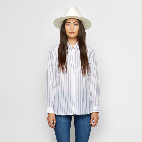 Silk Cotton Striped Boyfriend Shirt - Ivory/Blue