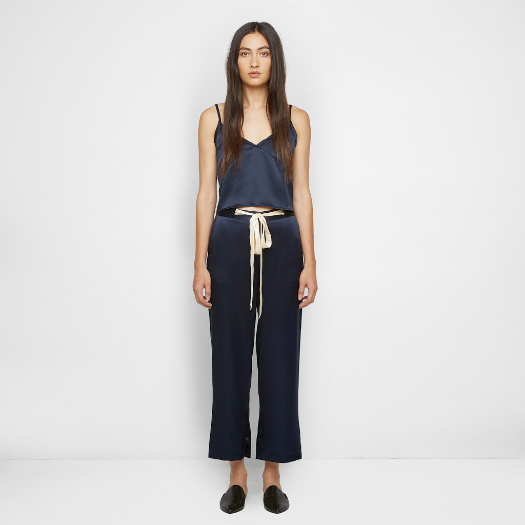 Silk Drawstring Pant - Navy