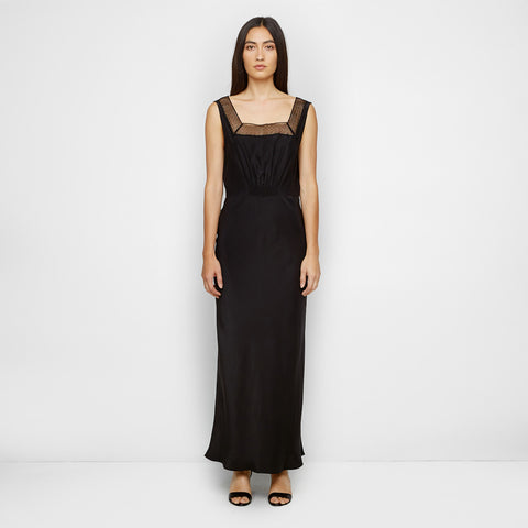 Silk Dress with Lace - Black