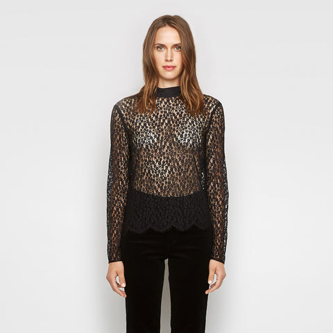 Silk Lace Mockneck Top - Black
