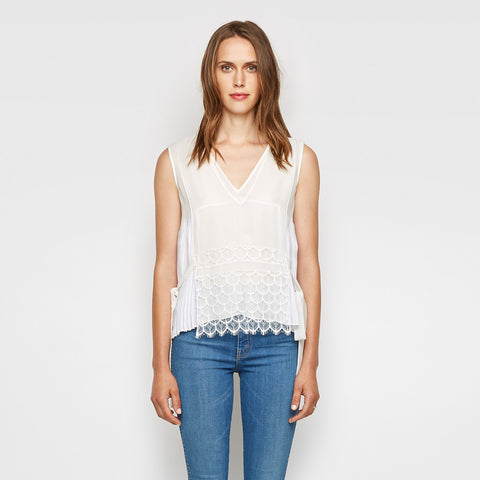 Silk Lace Overlay Top - Ivory - Final Sale