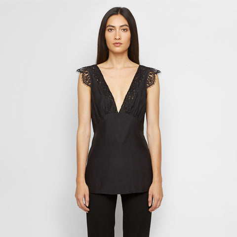 Silk Lace Top - Black - Final Sale
