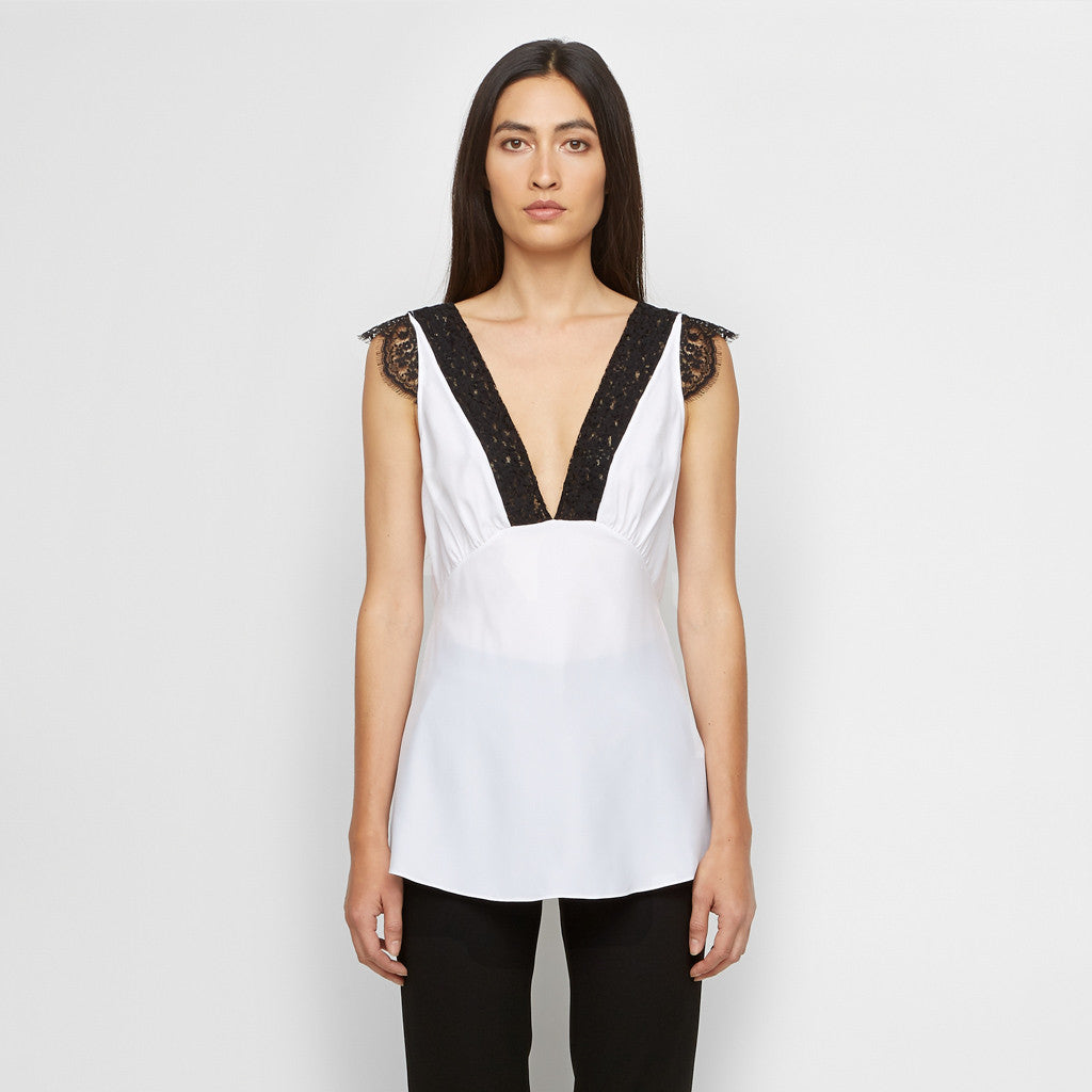 Silk Lace Top - White/Black - Final Sale